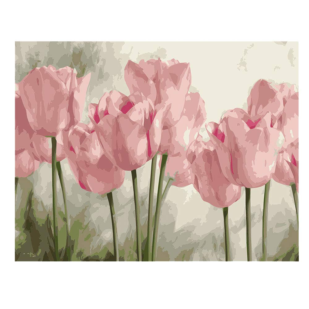 DIY Paint by Numbers for Adults Kids Tulip Paint by Numbers DIY Painting Acrylic Paint by Numbers Painting Kit Home Wall Living Room Bedroom Decoration Pink Tulips by Kimily
