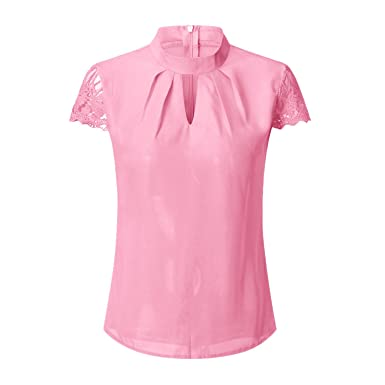 Frozac Women Sexy Blouses Summer Casual Hollow Short Sleeve Splice Lace Tops Blouse Shirts Blusas Mujer