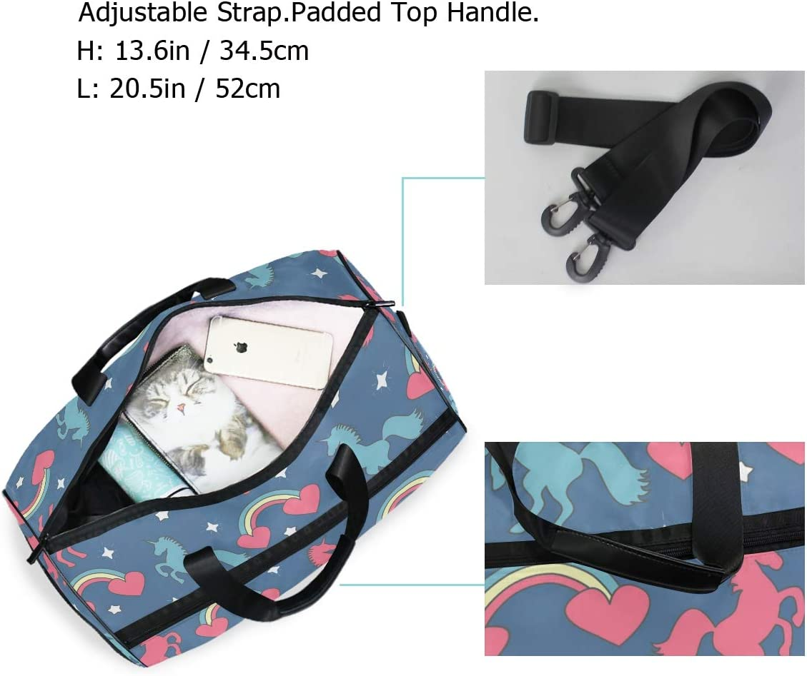 Travel Duffels Rainbows Hearts Unicorns And Stars Duffle Bag Luggage Sports Gym for Women /& Men