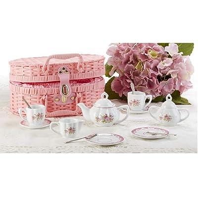 Delton Product Porcelain Tea Set in Basket Lavender and Roses: Toys & Games