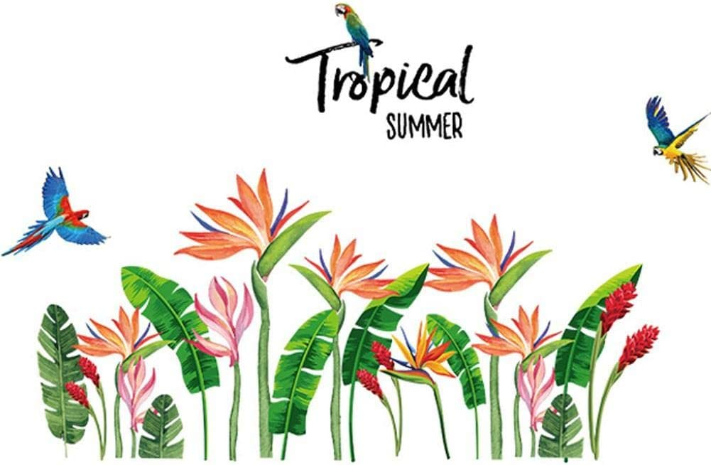 Casecover Tropical Summer Green Leaves Birds of Paradise Flower Wall Stickers Home Decor Living Room Sofa Decoration Self-Adhesive Decals