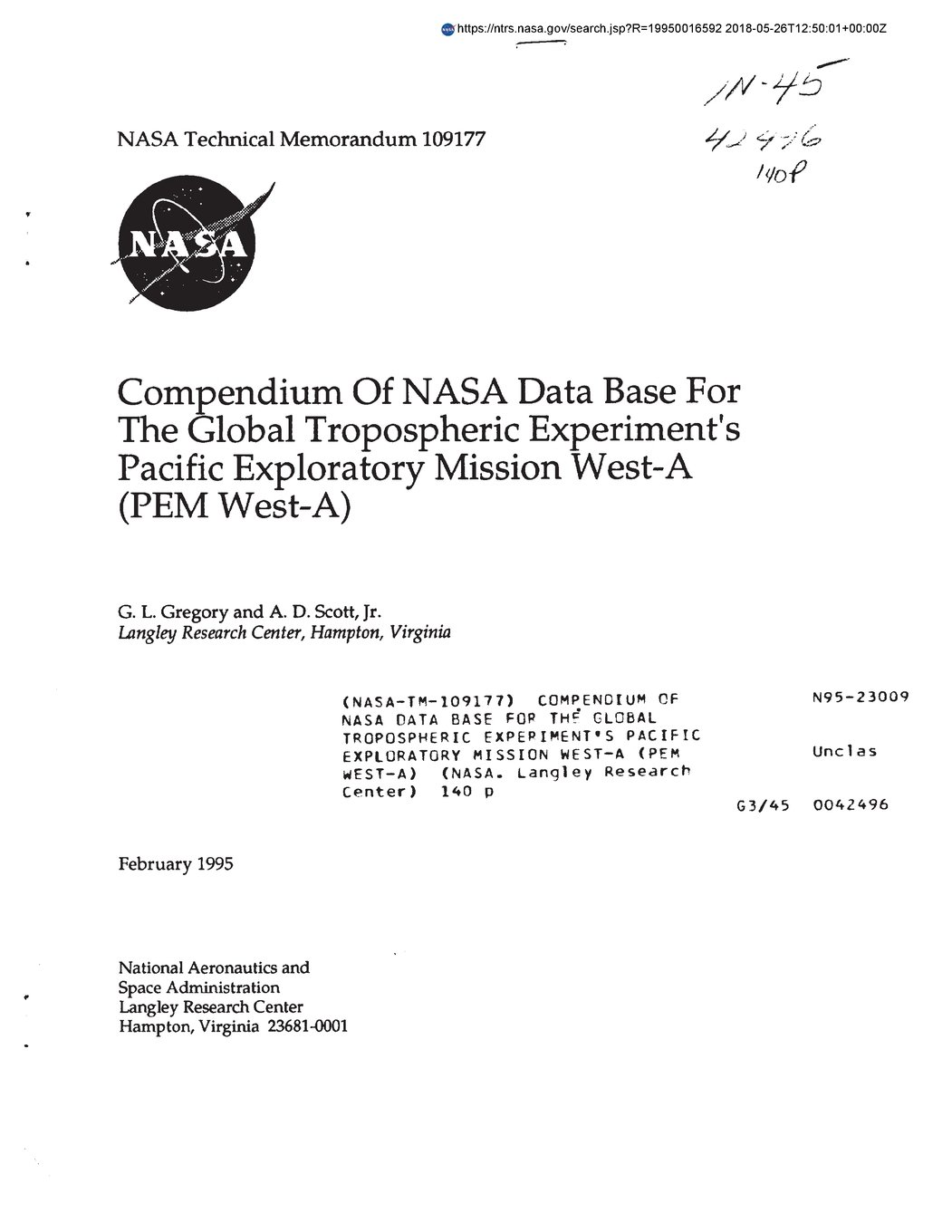Compendium Of Nasa Data Base For The Global Tropospheric