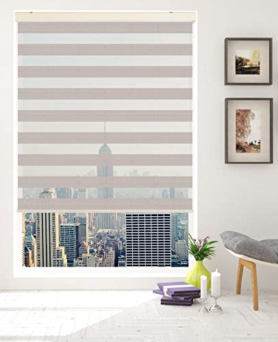 Springblinds Premium Zebra Corded Roller Shade – Modern Fabric with Cassette -Custom Made in U.S.A.
