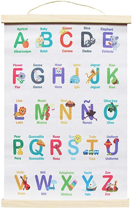 Globe Toddlers Bilingual Alphabet Poster, Abc Poster For Toddlers Wall, Abc Chart For Wall For Kindergarten English Spanish Abc School Banner Wall Art Hanger 11x18""