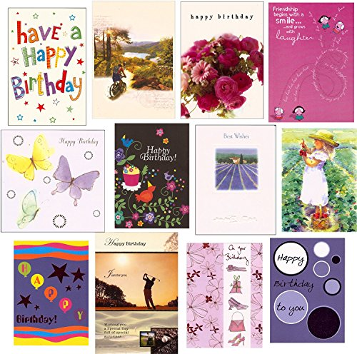 12 Mixed Variety Greeting Cards for Men, Women & Children (Masculine Birthday Card)