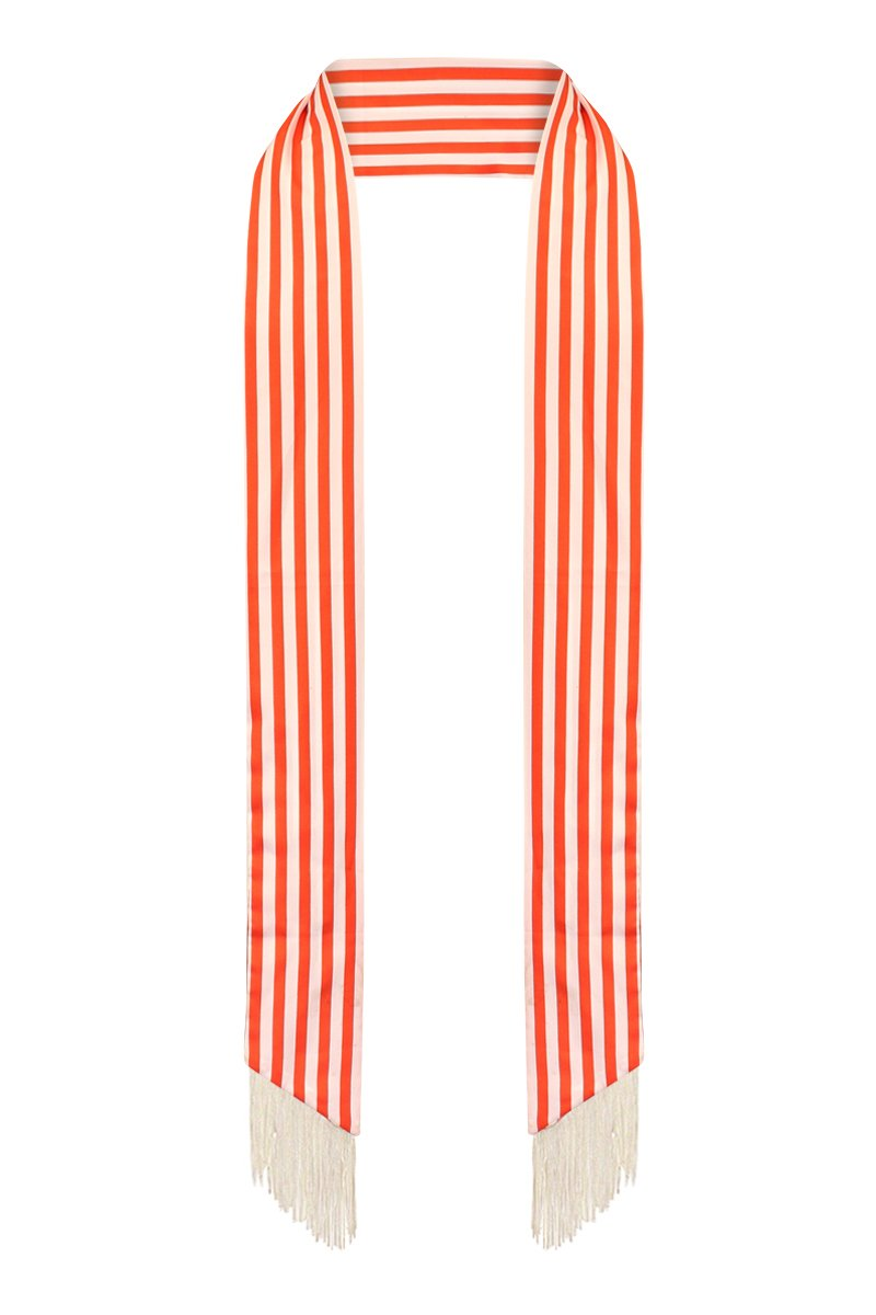 LL Womens Chic Long Thin Skinny Scarf Tie Sash Fringe Light Weight Many Styles (Red Stripes)