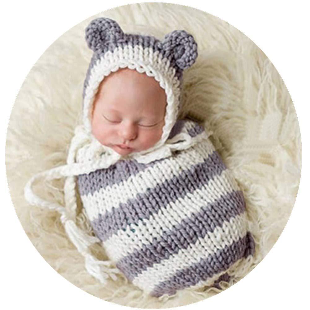 Amazon com newborn photography props baby photo shoot outfits infant boy girl crochet unisex sleep bag hat baby