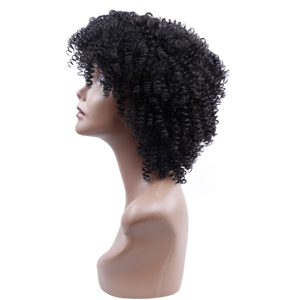 Amazon.com: Kinky Curly Afro Wig Synthetic Hair Short Wigs for Women and Men African Pelucas Sinteticas Cosplay (4): Beauty