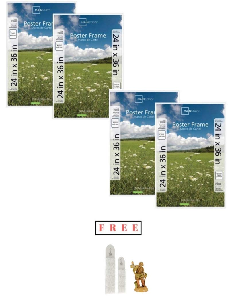 Mainstays`` Set of 4 24x36 Basic Poster & Picture Frame White, Buy More! Save More! with Free!