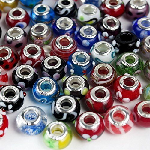 Gleader50 Piece Lot Lampwork Murano Glass European Mix Beads- Compatible with Most Major Charm (Glass Charm Bead)