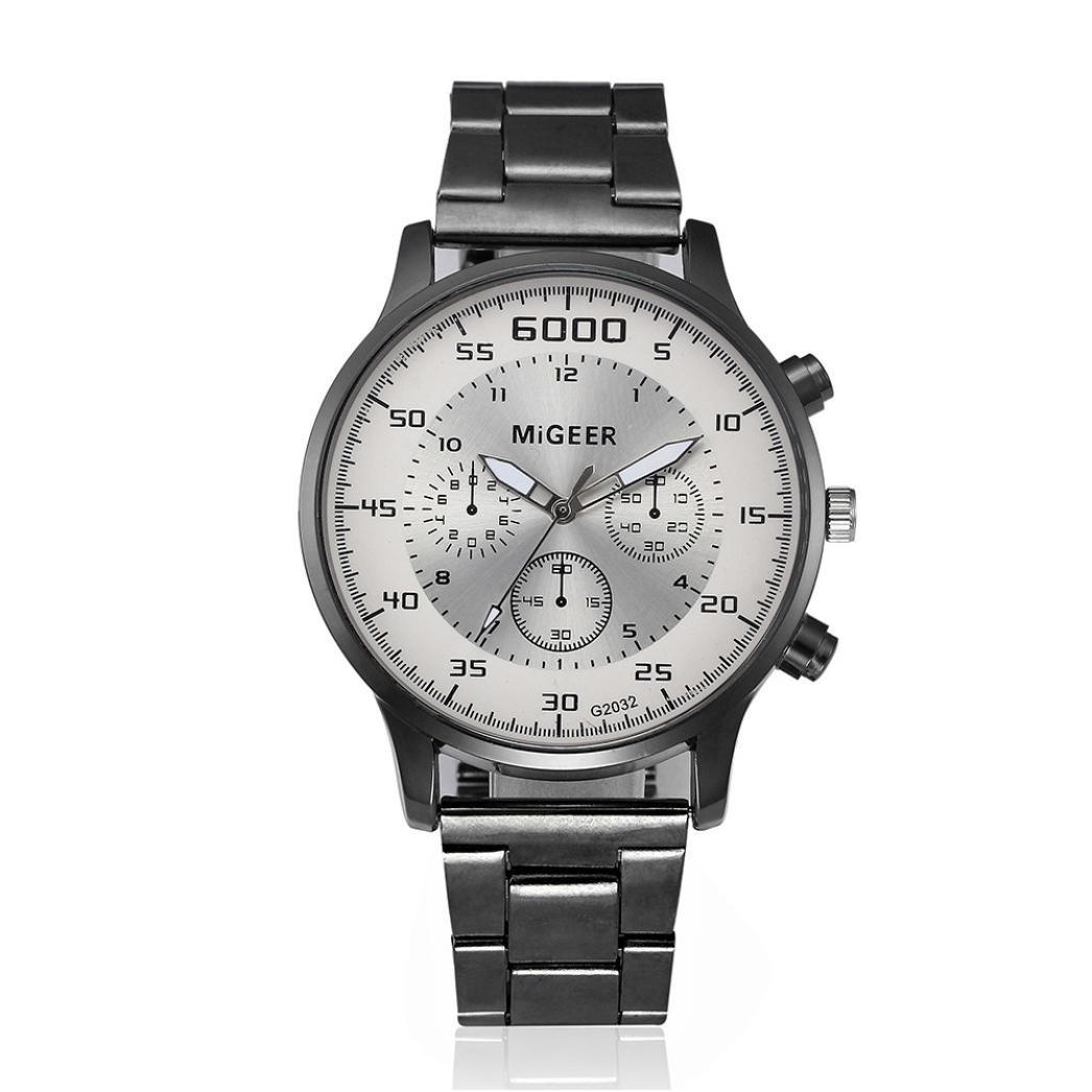 & # x1 F496 ; & # x1 F496 ; rakkissメンズファッションクリスタルステンレススチールアナログクオーツ腕時計 マルチカラー 123 B07DHK13DG  ホワイト