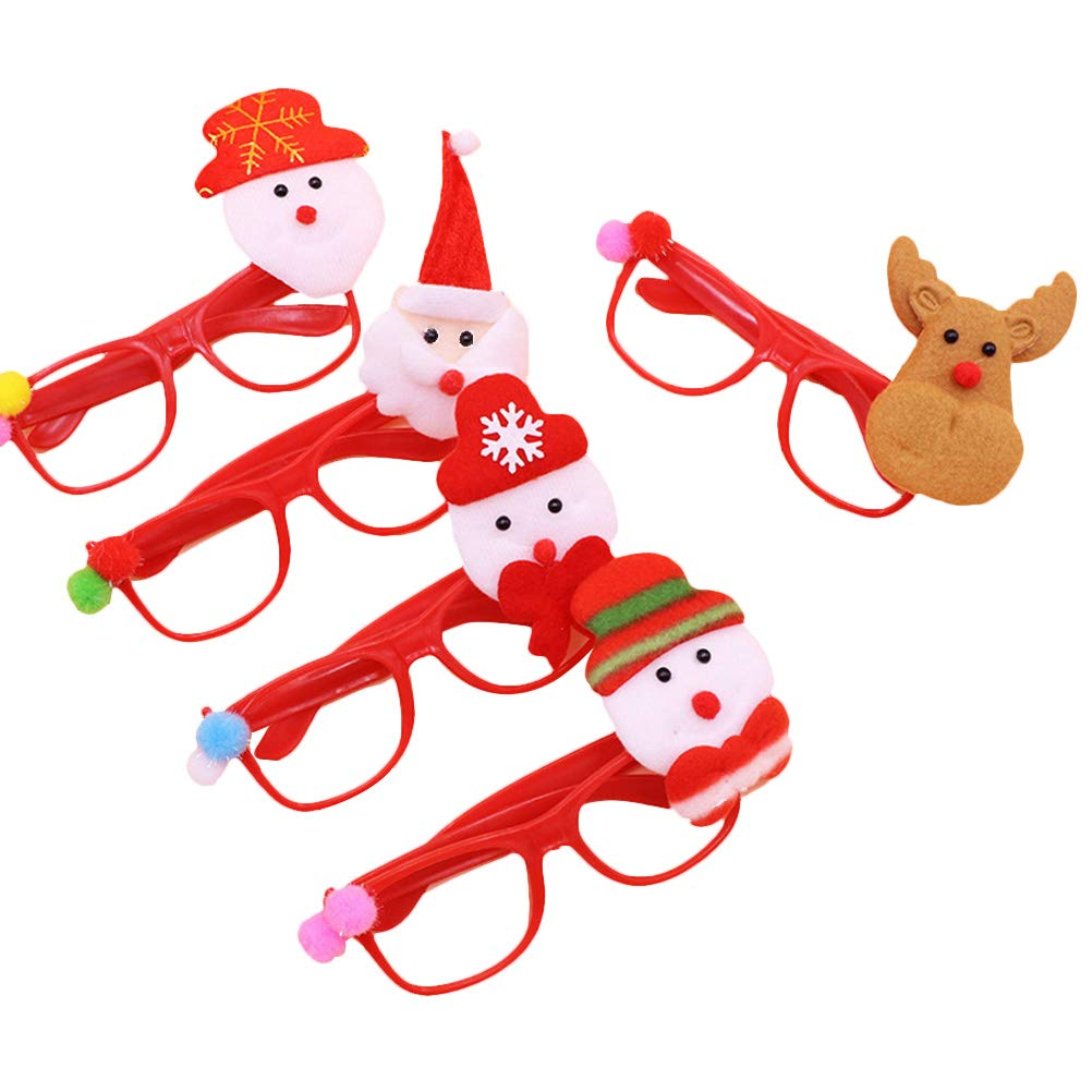 Healifty Christmas Glasses Supplies for Party 5pcs(Random Styles)