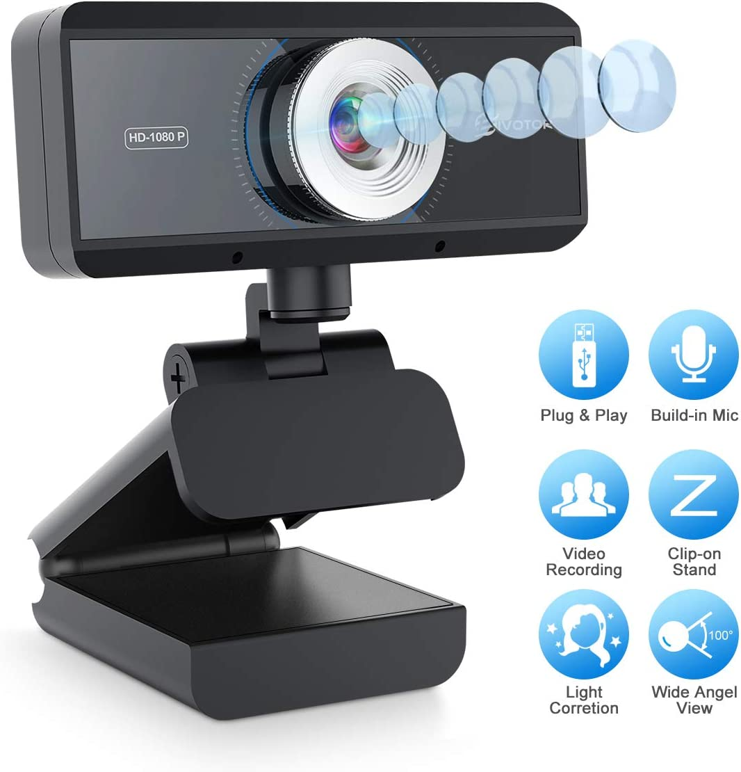 EIVOTOR 1080p HD Webcam with Microphone, Full HD Web Cam Plug and Play USB Computer Camera for Laptop PC, Online Studying, Video Calling and Conferencing