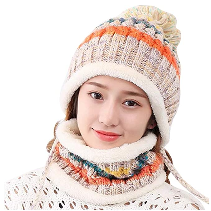 3d64d52a3cb Andy Esther Womens Winter Pom Pom Beanie Earflaps Cap Warm Fleece Lining  Thick Slouchy Cable Knit Ski