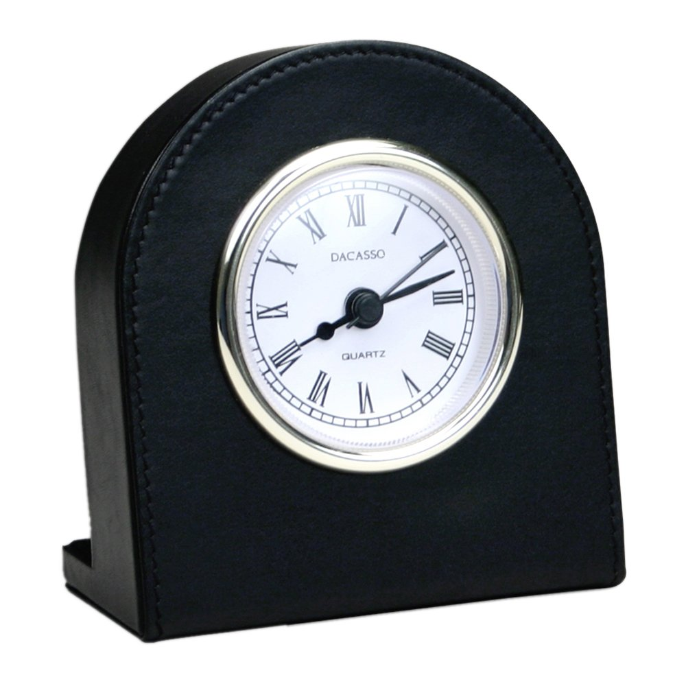 Offex Classic Black Leather Clock with Gold Accents (OF-A1016)