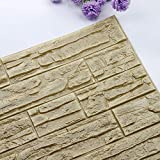 Pet1997 Self-adhesive 3D Brick Wall Sticker, DIY 3D Brick PE Foam Wallpaper Panels, Room Decal Stone Decoration For Home Living, Bedroom, Kitchen - 23.62Inch x 11.81Inch (R)