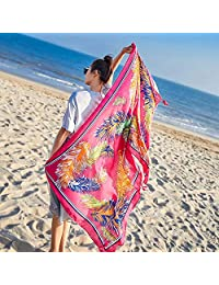THSTVweijin Ms. Scarf Cotton Travel Scarf Vacation Sunscreen Scarf Air Conditioning Large Shawl Beach Towel THSTVweijin (Color : Rose red)