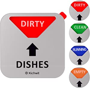 Kichwit Dishwasher Magnet Clean Dirty Sign Indicator with Running and Empty Options, Non-Scratch Strong Magnetic Backing, Residue Free Adhesive Included, 3.5 Inch, Silver