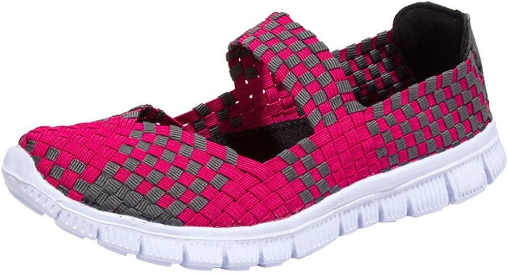 Haalife◕‿/¿Women Casual Mesh Loafers Woven Stretch Lightweight Flats Shoe Casual Non Slip Walking Shoes