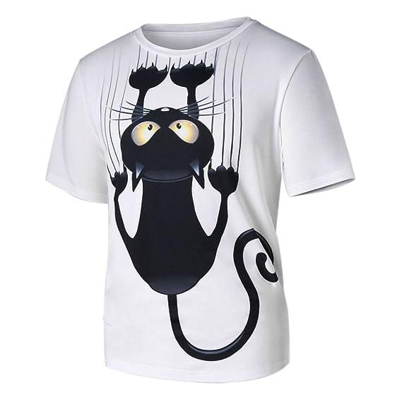 Ropa Camisetas Mujer, Camisas Mujer Verano Elegantes Modelos Cat Casual Tallas Grandes Camisetas Mujer Manga