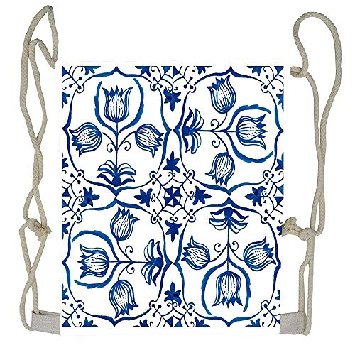 WATINCFlagHomegg Delft Blue Tulips Kawaii Drawstring Bag Backpack Girls Large Capacity Sack Tote Sport
