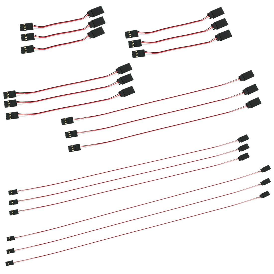 Kalevel JR Spektrum Futabaスタイル サーボ延長ワイヤーコード 3ピン LEDコネクター オス-メス サーボケーブル RC延長プラグ サーボ延長接続コントロールボード リモートコントロールパーツ用 M ブラック 38288719934 B07MX11492 18pcs