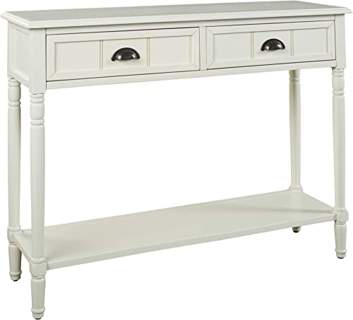 Signature Design by Ashley – Goverton Console Sofa Table – Vintage Casual – White