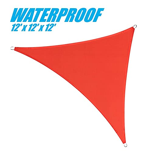 ColourTree 12 x 12 x 12 Red Triangle Waterproof 220 GSM 100 Blockage Commercial Standard Heavy Duty Sun Shade Sail Canopy