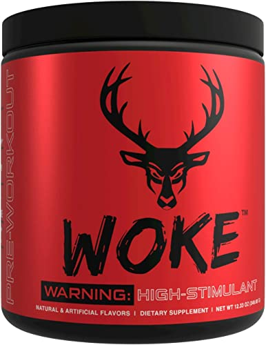 Bucked Up – Woke – HIGH STIM Pre Workout – Best Tasting – Focus Nootropic, Pump, Strength and Growth, 30 Servings Blue Raz