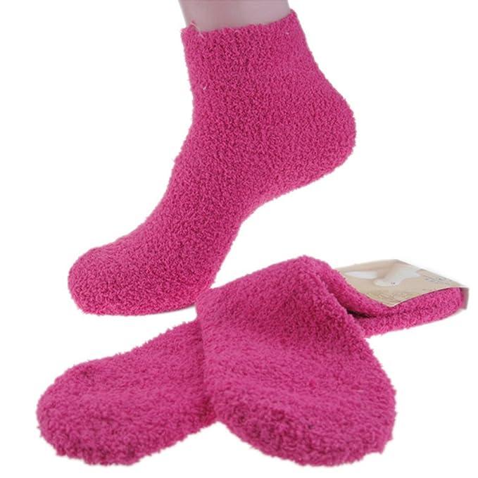 Ruisen 3 Paquete mullidas Fuzzy rayas suave lana calcetines térmicos de las mujeres: Amazon.es: Ropa y accesorios