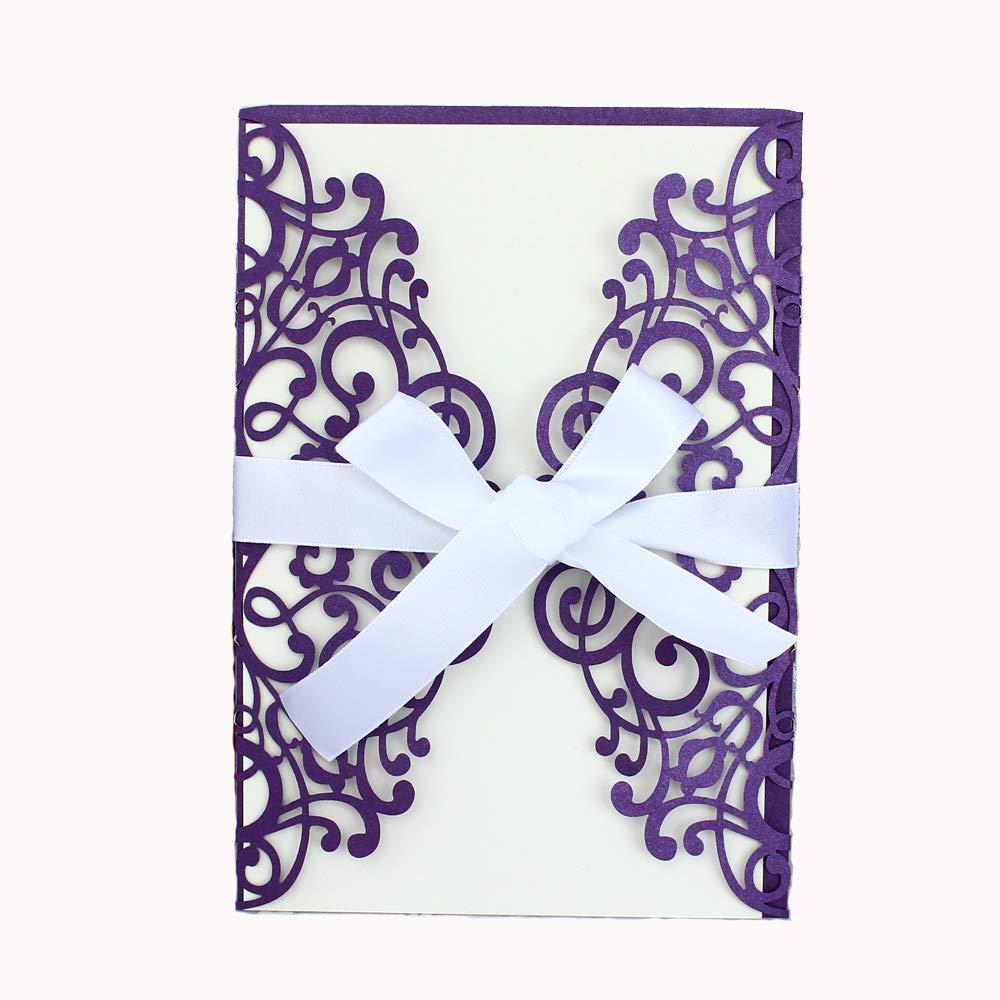 NATURE WORSHIP 50-Pcs Exquisite Carving Wedding Invitation Kits with Silk Ribbon, Purple