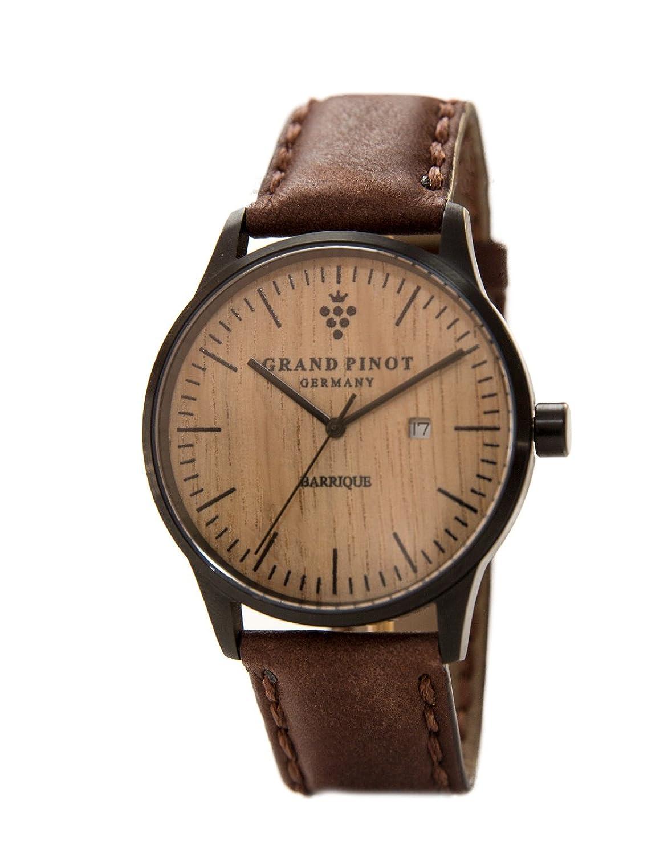 Grand Pinot Herren-Armbanduhr CHARACTER (42 mm) Schwarz-Barriquefass mit dunkelbraunem Lederarmband