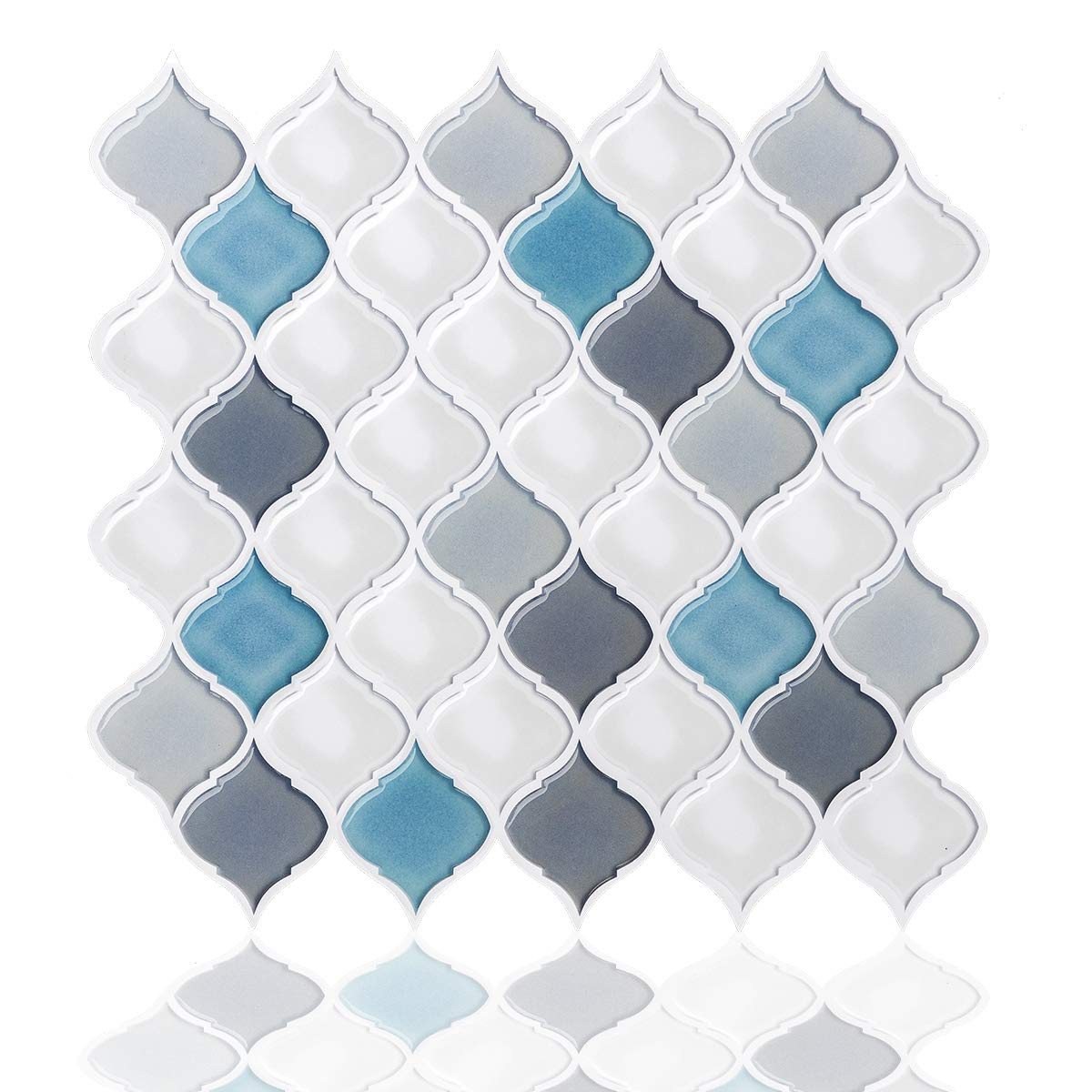 Peel and Stick Wall Tile for Kitchen Backsplash-Slant Blue&White Arabesque Tile Backsplash-Kitchen Backsplash Tiles Peel and Stick Wall Stickers,6 Sheets by FAM STICKTILES