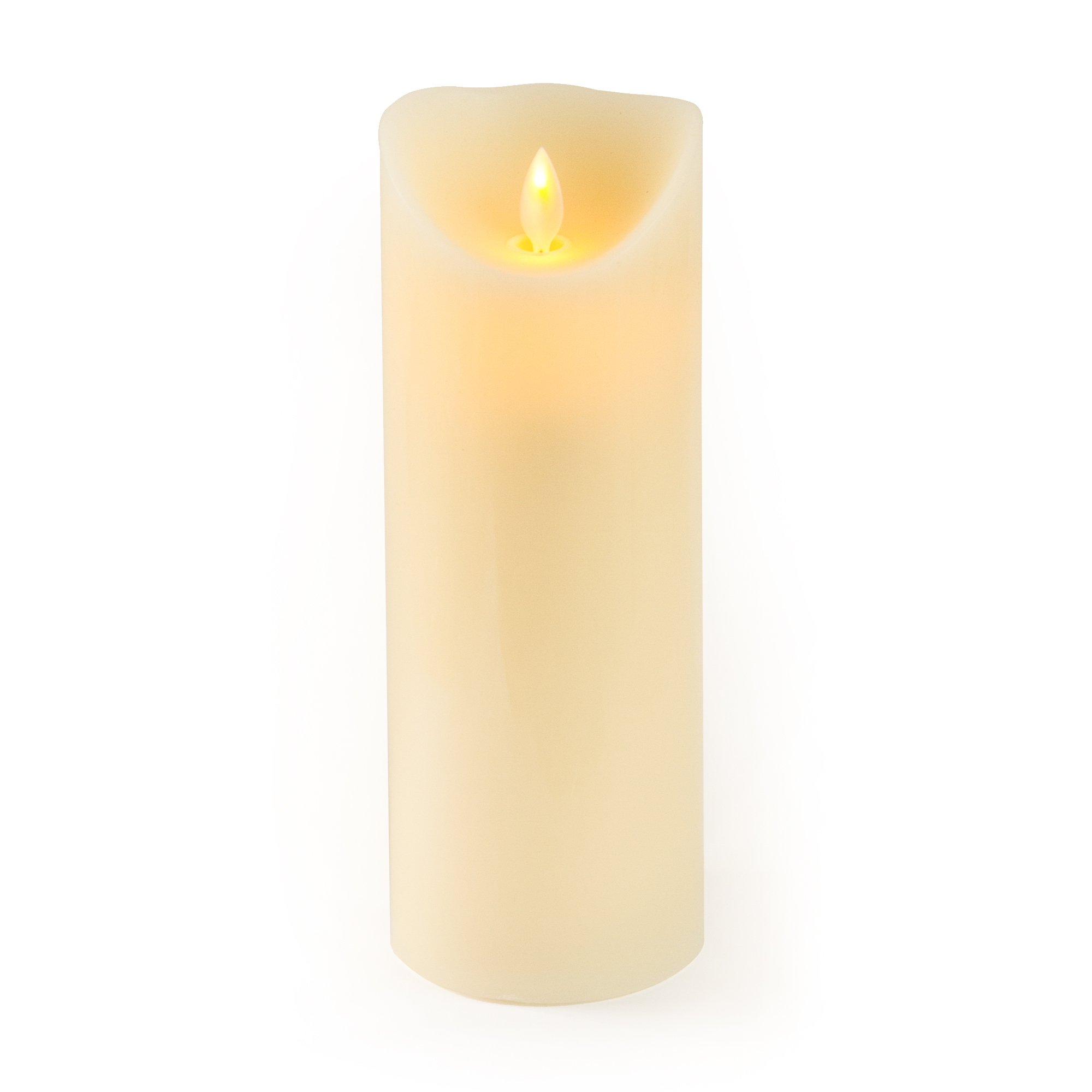 Gideon 9 Inch Flameless LED Candle - Real Wax & Real Flickering Candle Motion - with Multi-Function Remote (On/Off, Timer, Dimmer) - Vanilla Scented, Ivory