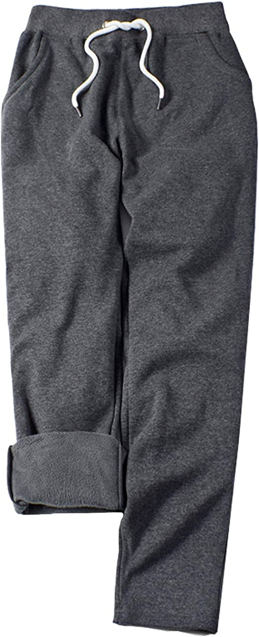 Dainzuy Womens Warm Sherpa Lined Athletic Sweatpants Drawstring Joggers Fleece Pant Trousers Thickening Long Pants