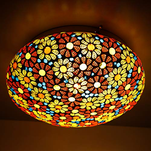 earthenmetal Bouquet of Flowers Glass Mosaic Ceiling lamp for Rooftop Living and Home Decoration Turkish lamp…