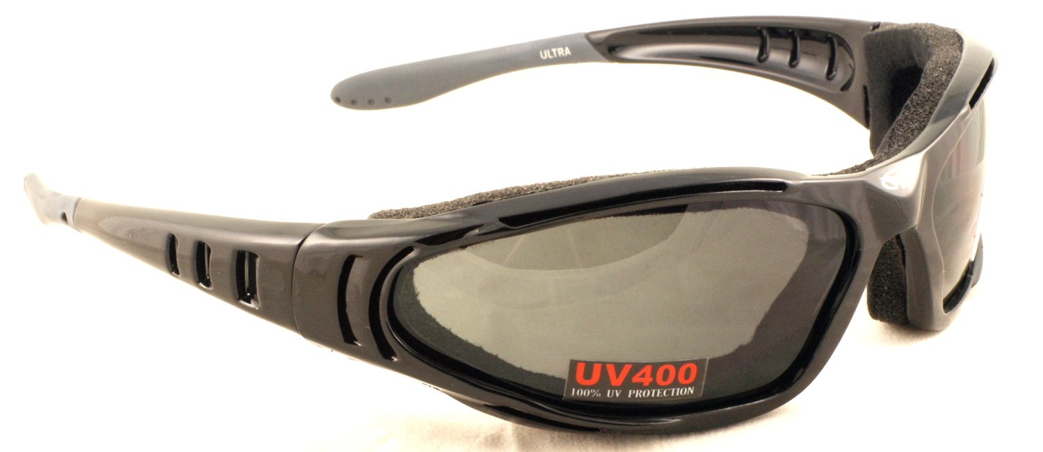 Motorcycle wraparound sunglasses with foam padding and shatterproof antifog lenses complete with free microfibre storage pouch. Global Vision