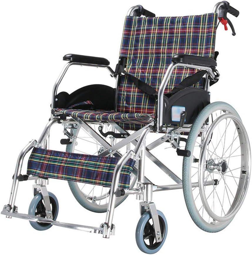 TWL LTD Sillas de Ruedas Ligeras Portátiles Plegables Marco de Aluminio Silla de Ruedas Manual con Respaldo Abatible Y Pedal para Adultos