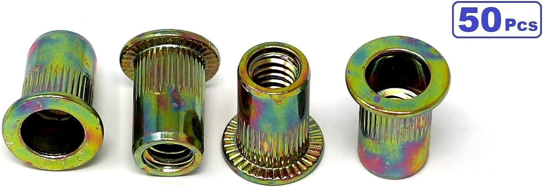 iExcell 50 Pcs 1//4-20UNC Carbon Steel Rivet Nuts Rivnuts Threaded Insert Nuts Nutsert Flat Head Yellow Zinc Plated Finish