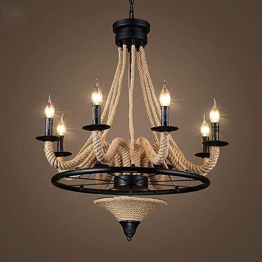 Vintage La Industria cáñamo cuerda colgante lámpara retro de ...