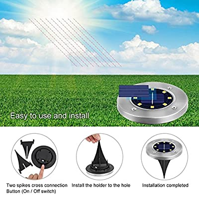 8 LED Christmas Pathway Lights Solar Powered Outdoor Solar Ground Lights for Patio Garden Lawn Yard in - Ground Lights 4PCS Pack