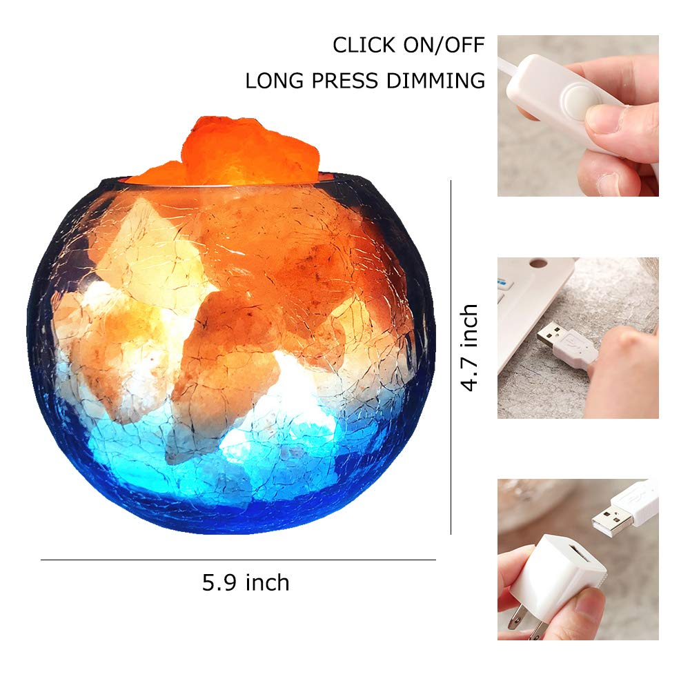 LUCKSTAR Natural Himalayan Crystal Salt Lamp- USB Natural Salt Crystal Chunks with Stripe Indoor Decoration Dimmer Switch Soft Warm Healthy Negative Ion Air Purifying Lamp,Table Lamp Bedroom Lava Lamp by LUCKSTAR (Image #4)