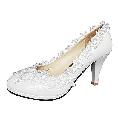 Amazon qin kuan women white handmade lace flowers bridal high qin kuan women white handmade lace flowers bridal high heel pumps shoes wedding party dress shoes mightylinksfo