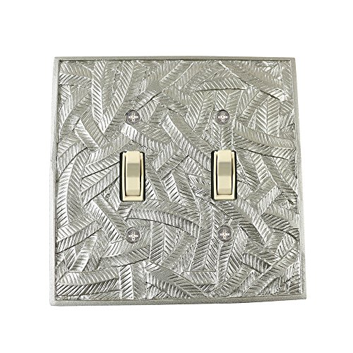Meriville Island 2 Toggle Wallplate, Double Switch Electrical Cover Plate, Pewter Country Two Light Island