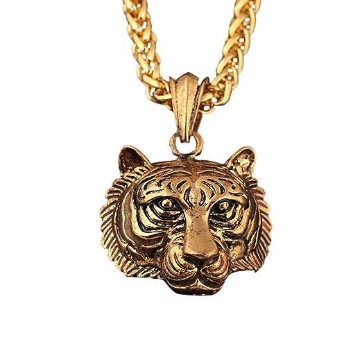 b22b0ddfe3 Gyoume Hip Hop Necklace Chain Men Luminous Tiger Head Pendant Necklace  Jewelry (A, Gold