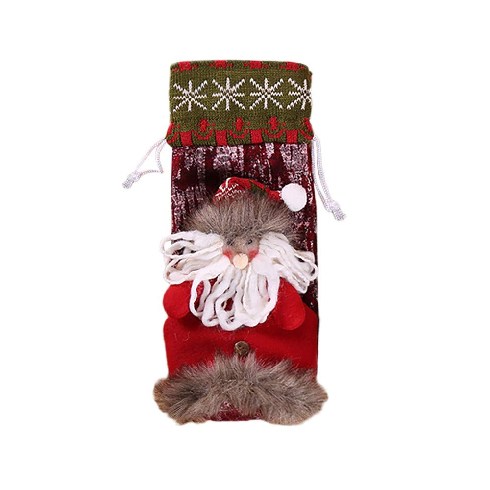 Barlingrock Christmas Decor, Wine Bottle Cover Bags Decor, Lovely Xmas Elk Clothes Stockings Home/Party/Hotel/Restaurant/Supermarket Decorations (Red)