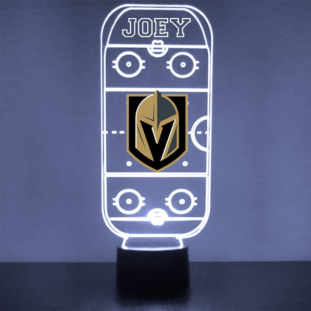 Mirror Magic Store Hockey Rink LED Light/Lamp with Free Personalization - Features Licensed Decal and Remote (Golden Knights (Vegas))