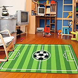 "Furnish my Place 680 Strips Soccer Rectangle 3'3 X 5 Field Ground Kids Play Area Rug, 3'3"" x 5', Green"