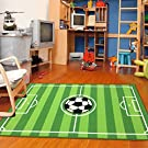 "Furnish my Place 680 Strips Rectangle 3'3 X 5 Soccer Field Ground Kids Play Area Rug, 3'3"" x 5', Green"
