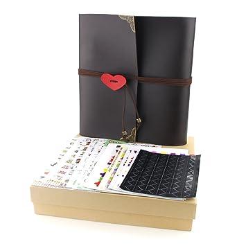 3fac0e09ecb7ec YAOHU Album Photo  quot Lover Heart quot  rétro autocollant Scrapbook 30  feuilles page noire DIY